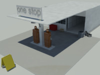 3d model of gas station