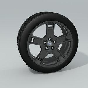 3d model black chrome rims