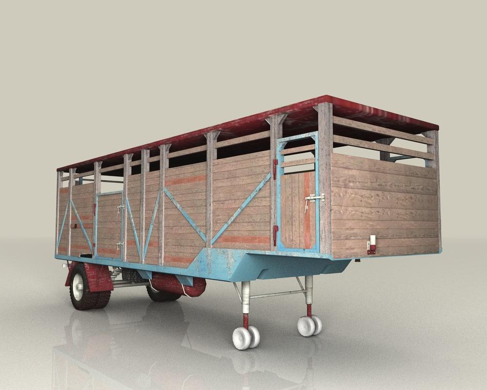 old trailer cattle c4d