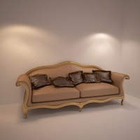 3d classic leather sofa