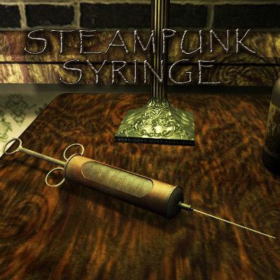antique syringe lod set 3d model