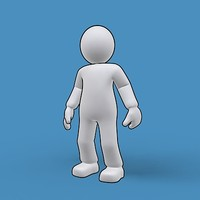 3d simple male cartoon outline model