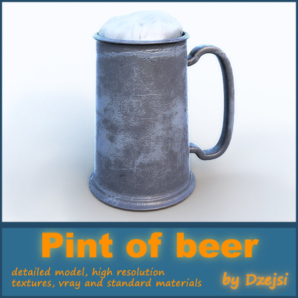 3d pint beer model