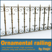 3d model ornamental railing