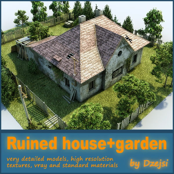 ruined house interior garden 3d max