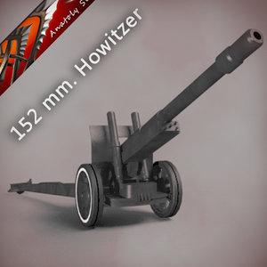 soviet howitzer-gun ml-20 artillery 3d model