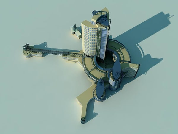 modern tower c4d