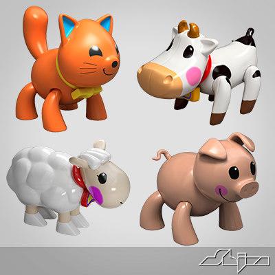3d plastic animals toys model