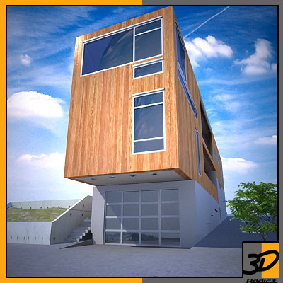 narrow house modern 3d model