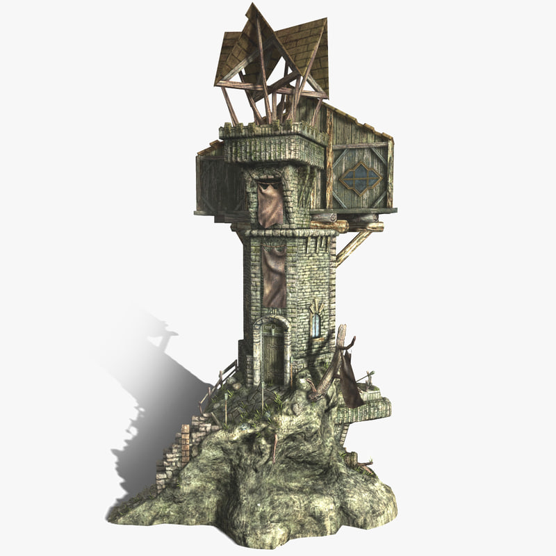 fantasy watch tower building 3d ma