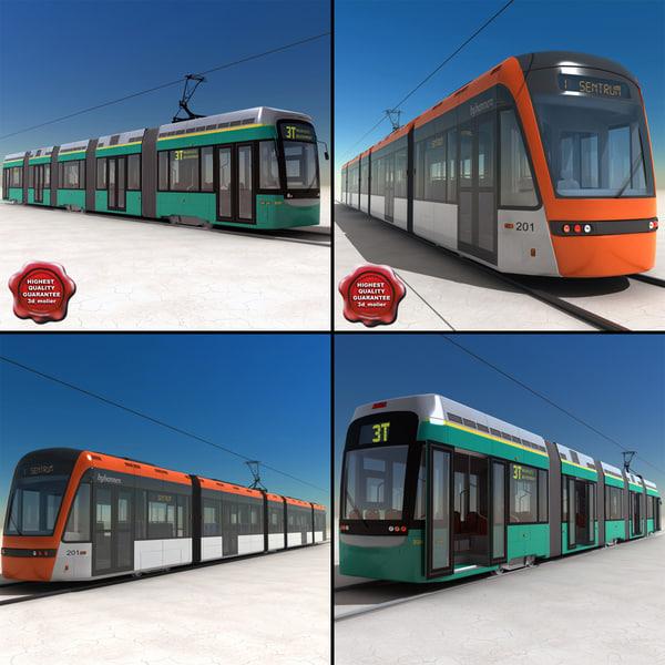 trams set low-floor 3d 3ds
