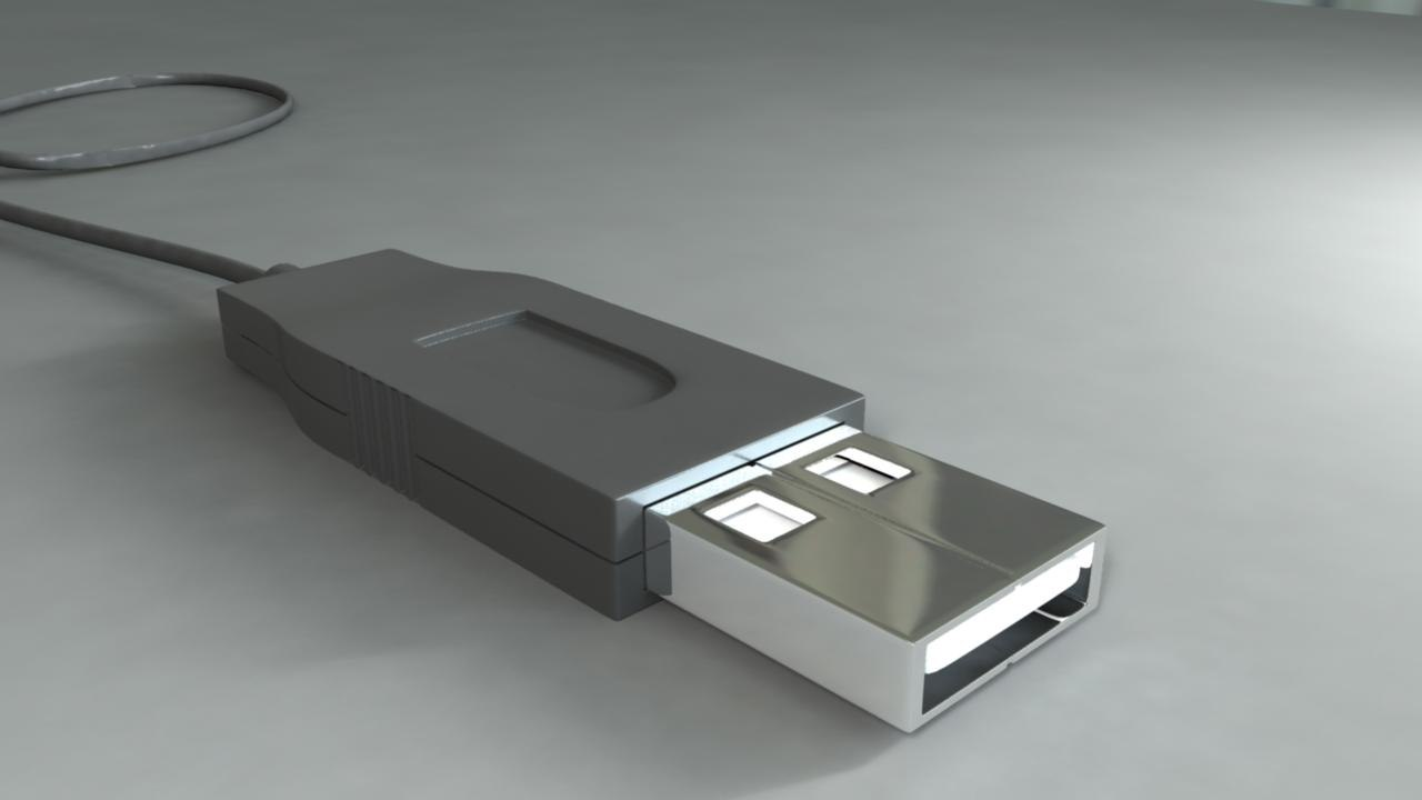 usb metal plastic 3d model