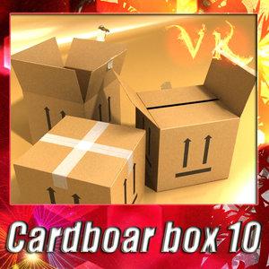 3d cardboard box resolution model