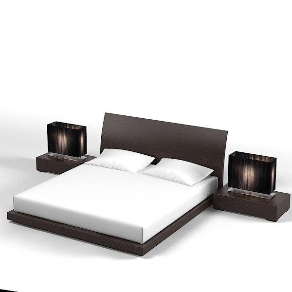 feg modern bedroom set bed nightstand lamp