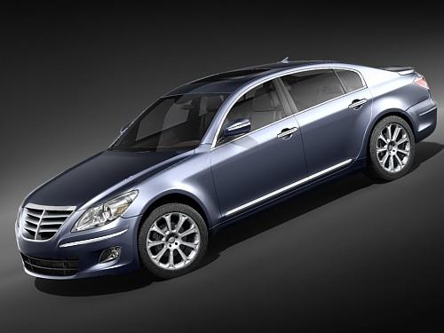 hyundai genesis sedan luxury 3d max