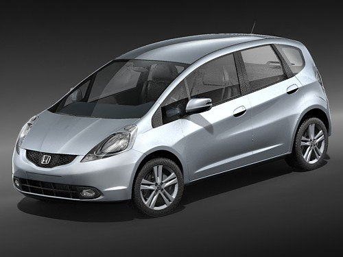 honda jazz fit car 3d model