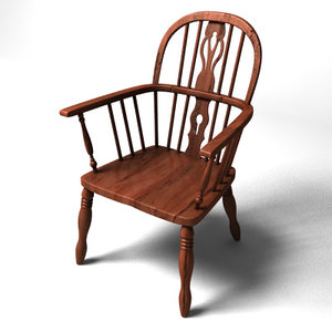 3dsmax realistic wooden chair