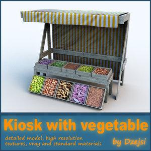 bazaar kiosk vegetable 3d model