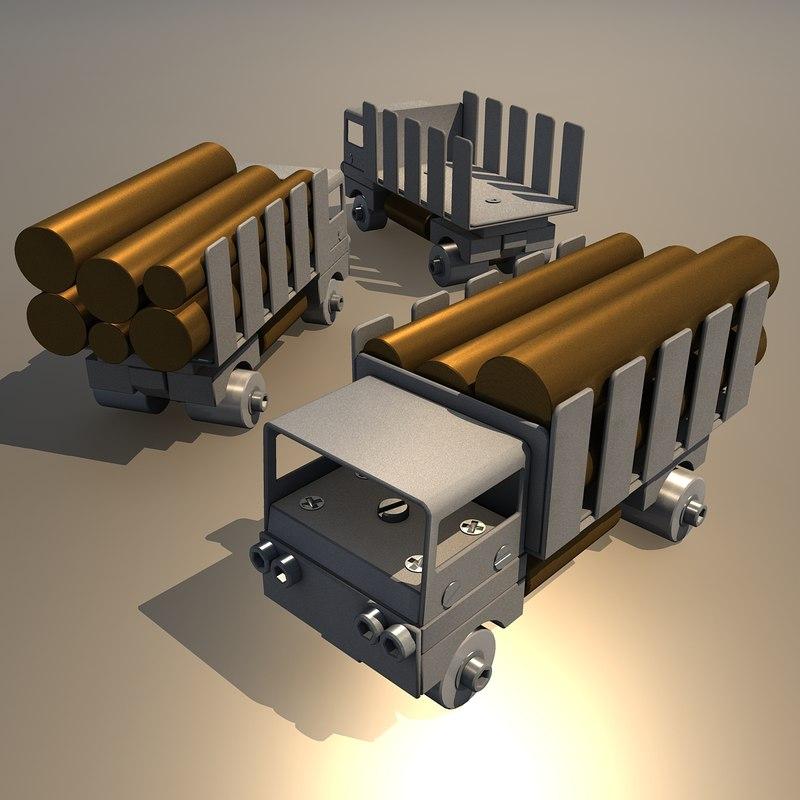 3d model truck aluminum brass