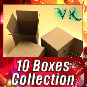 10 cardboard boxes pallet 3d max
