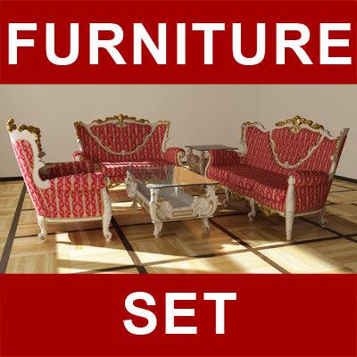 victorian furniture 603 set 3d model