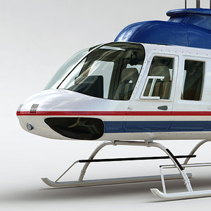 commercial bell 206l interior 3d model