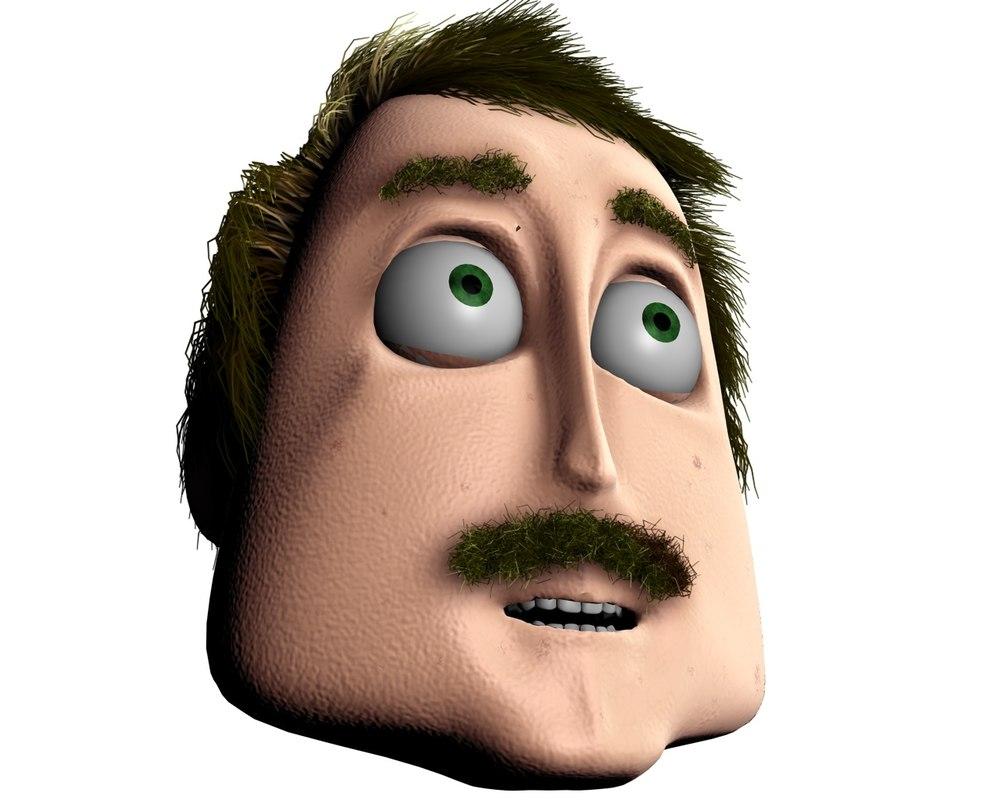 3d character hair morph model