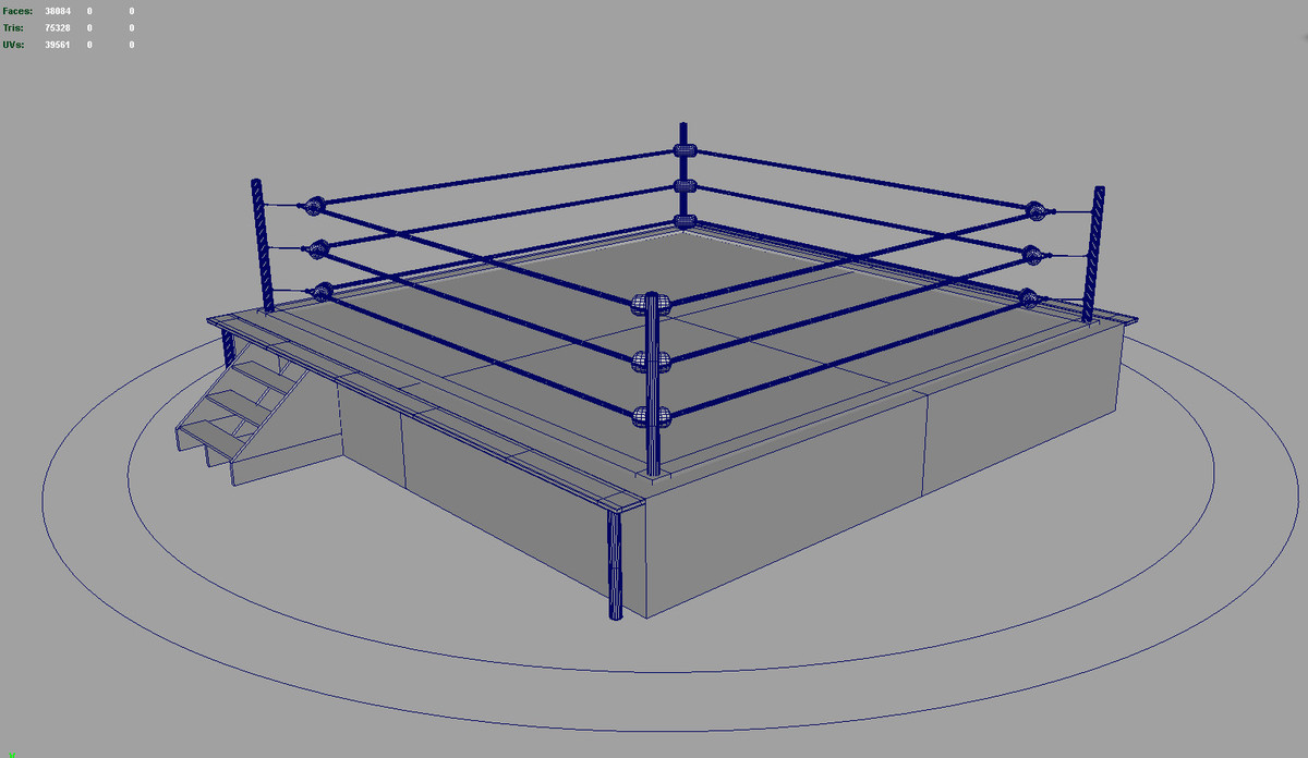 rigged wrestling boxing ring 3d model