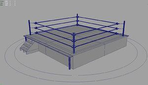 rigged wrestling boxing ring 3d model