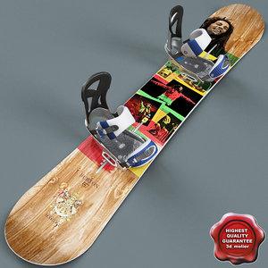 3d model snowboard v3