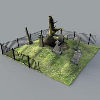 3d model of spooky old graveyard grave