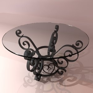 3d 3ds bent iron coffee table