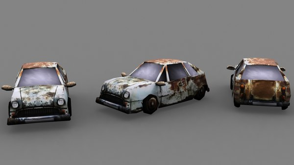 rusty burned car 3d model