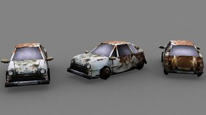 rusty burned car 3d model