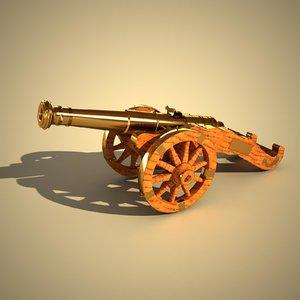 3d model cannon wood