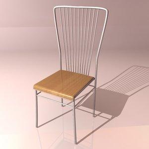 metallic chair 3d 3ds