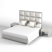 Fendi modern contemporary high back leather bed bedroom set elegant luxury