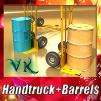 Hand truck + 2 barrels + High resolution textures