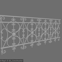 3d ornamental railing model