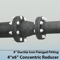 3ds max 4in concentric reducer piping