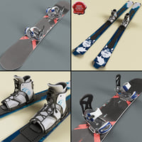 Snowboard and Skis