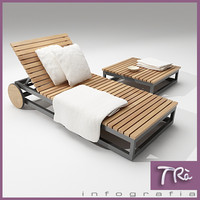 TEAK SUNBED AND TABLE