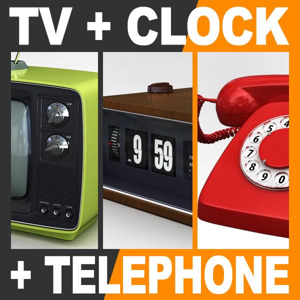 retro television set flip clock max