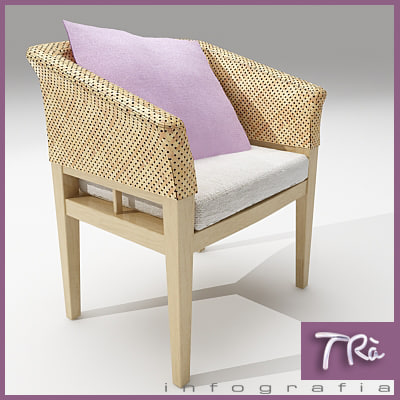 3dsmax terrace chair wood wicker