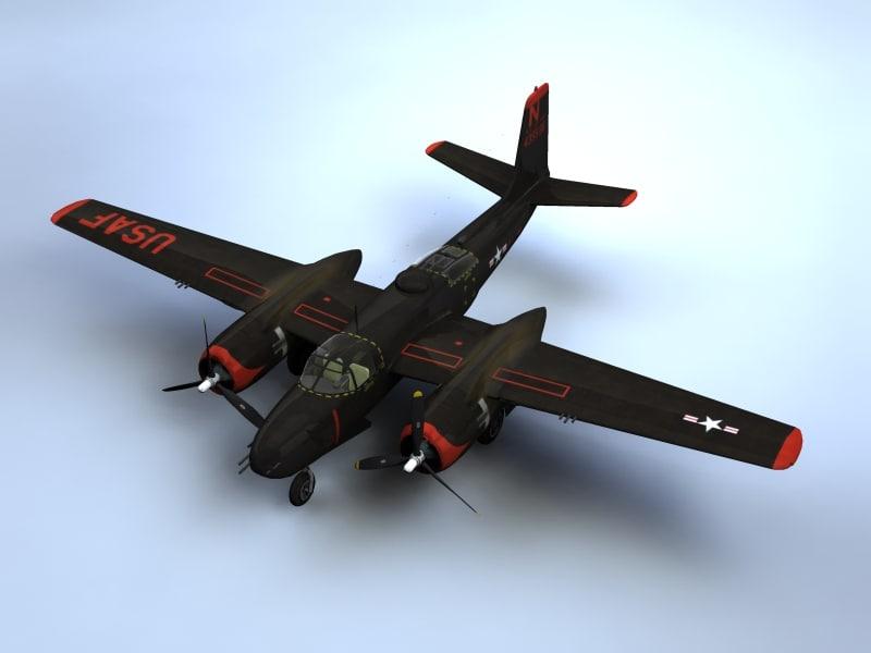 3d model a-26 invader bomber aircraft