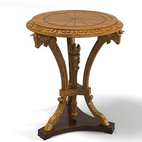 Classic empire baroque antique carved wooden round coffee side table