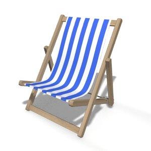 beach deck chair 3d obj