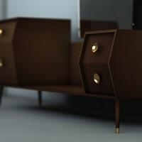 3d model art deco dressing table