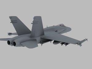3d f-18 navy attack warplane