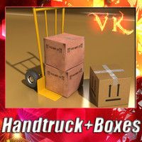 Hand truck + 2 Cardoard boxes + High resolution textures